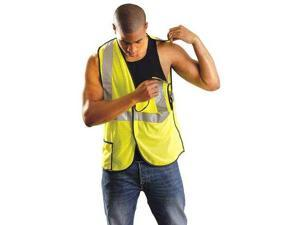 OCCUNOMIX LUX-SSBRPC-Y4X High Visibility Vest,4XL,Yellow,27 in L