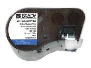 BRADY MC-1500-595-WT-BK Label Cartridge,Black/White,Vinyl