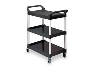 RUBBERMAID FG342488BLA Utility Cart, 200 lb. Load Cap., Plastic