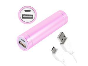 Pink Cylindrical 2600mAh Portable Power Bank for Micro USB Phone Mp5