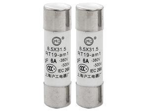500V 6A RT19 Low Voltage Ceramic Cylindrical Fuse Link 2 Pcs