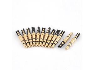 Male Solder Earphone Headphone Audio Jack Plug Replacement Gold Tone 3.5mm 12pcs