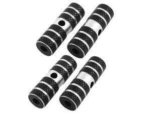 2 Pairs Black Silver Tone Cycling Mountain Bicycle Bike Nonslip Axle Foot Pegs