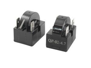 Plastic Housing 4.7 Ohm 3 Pins Refrigerator PTC Starter Relay Black 2PCS