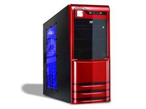 Logisys CS308RD Ruby Red 10-Bay Atx Mid Tower Window Case 480W PSU Black Red