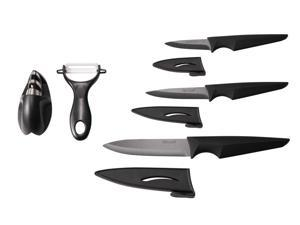 Hecef Ceramic Knife Set with Three Pcs Ceramic Knives and Ceramic Peeler and Knife Sharpener - HF0061322