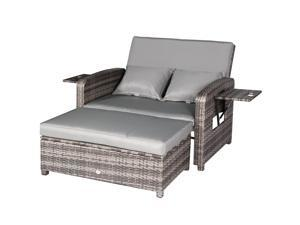 Cloud Mountain 2 PC Outdoor PE Rattan Wicker Patio Loveseat and Ottoman Furniture Set, Light Gray