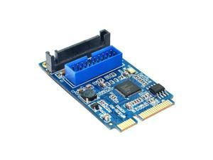 Motherboard Mini PCI Express to Dual USB 3.0 20-pin Expansion Card Adapter,Mini PCIe PCI-e to 2 ports USB 3.0 w/ SATA power