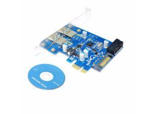 4 Port PCIE PCI-e to USB 3.0 (2 x Type A+ 20 Pin Internal) Expansion Card Hub Controller PCI Express Card Adapter w/ SATA Power