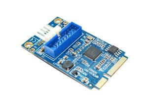 Motherboard Mini PCI Express to Dual USB 3.0 20-pin Expansion Card Adapter,Mini PCIe PCI-e to 2 ports USB w/ Molex 4-pin Power