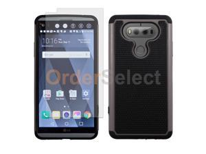 Hybrid Rugged Rubber Case+LCD Clear HD Screen Protector for Android LG V20 Gray