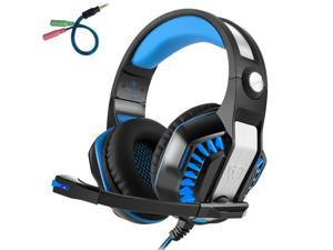 fe9e3ec82fd Pro Gaming Headset Blue Mic Led Lights Volume Control Stereo Bass 3.5 Mm  Stereo