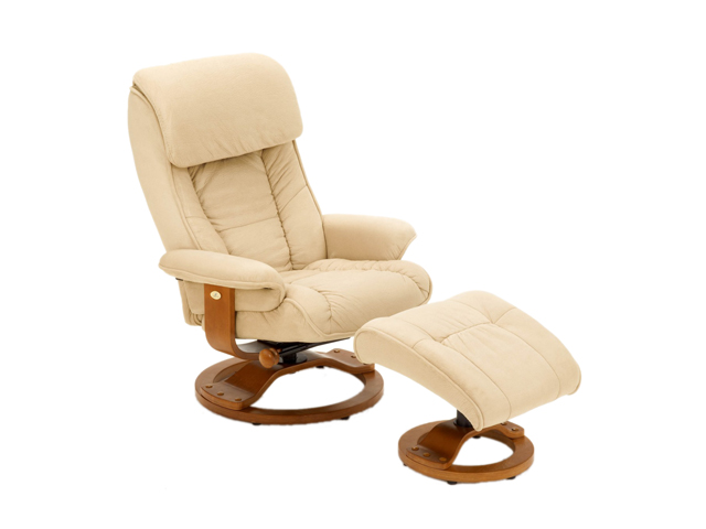 Mac Motion Chairs Hazelnut Tan Microfiber Swivel, Recliner With Ottoman  Recliners