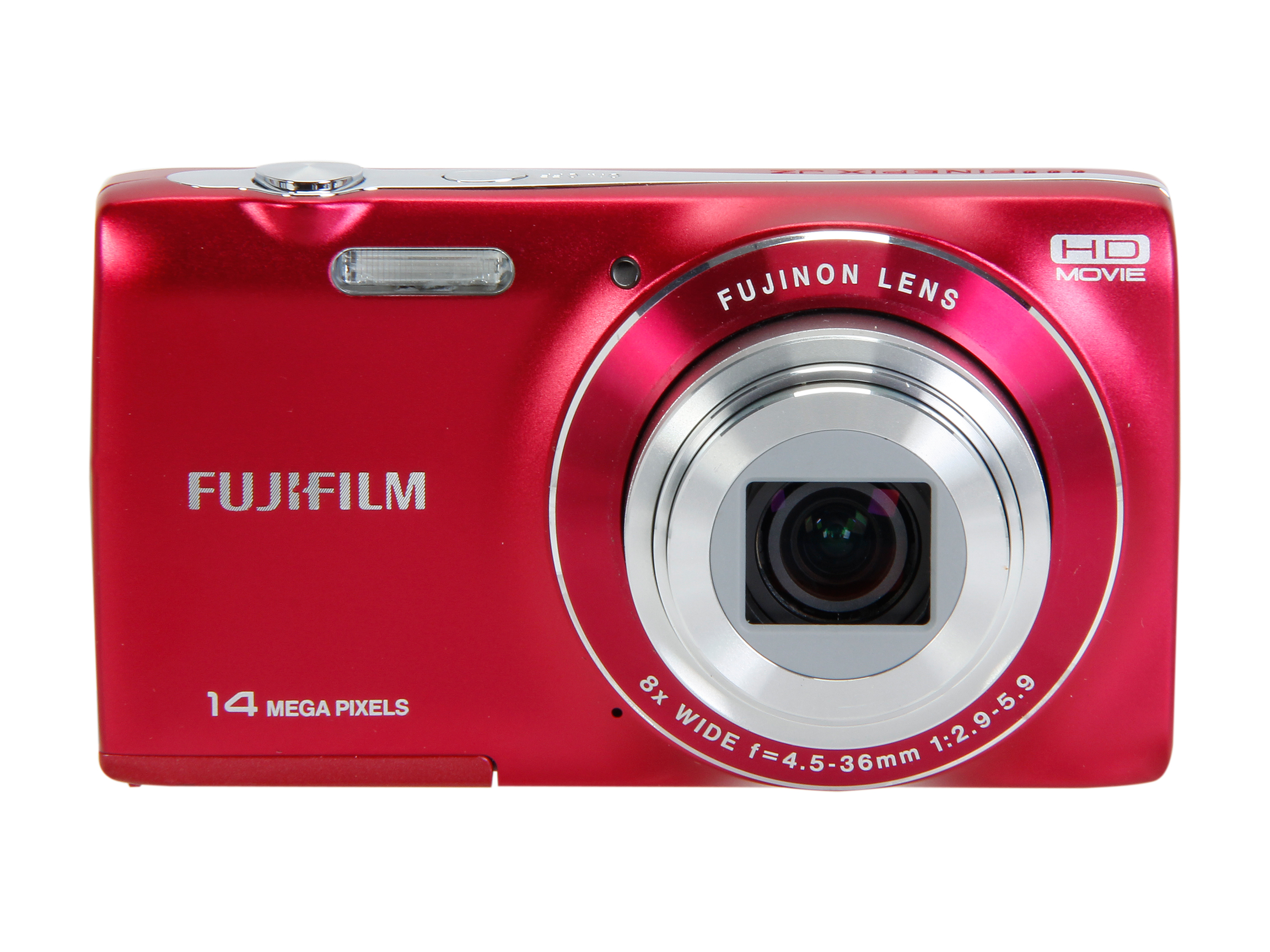 Refurbished: Fuji FinePix 14MP 8x Optical ZoomDigital Camera, JZ100 Red