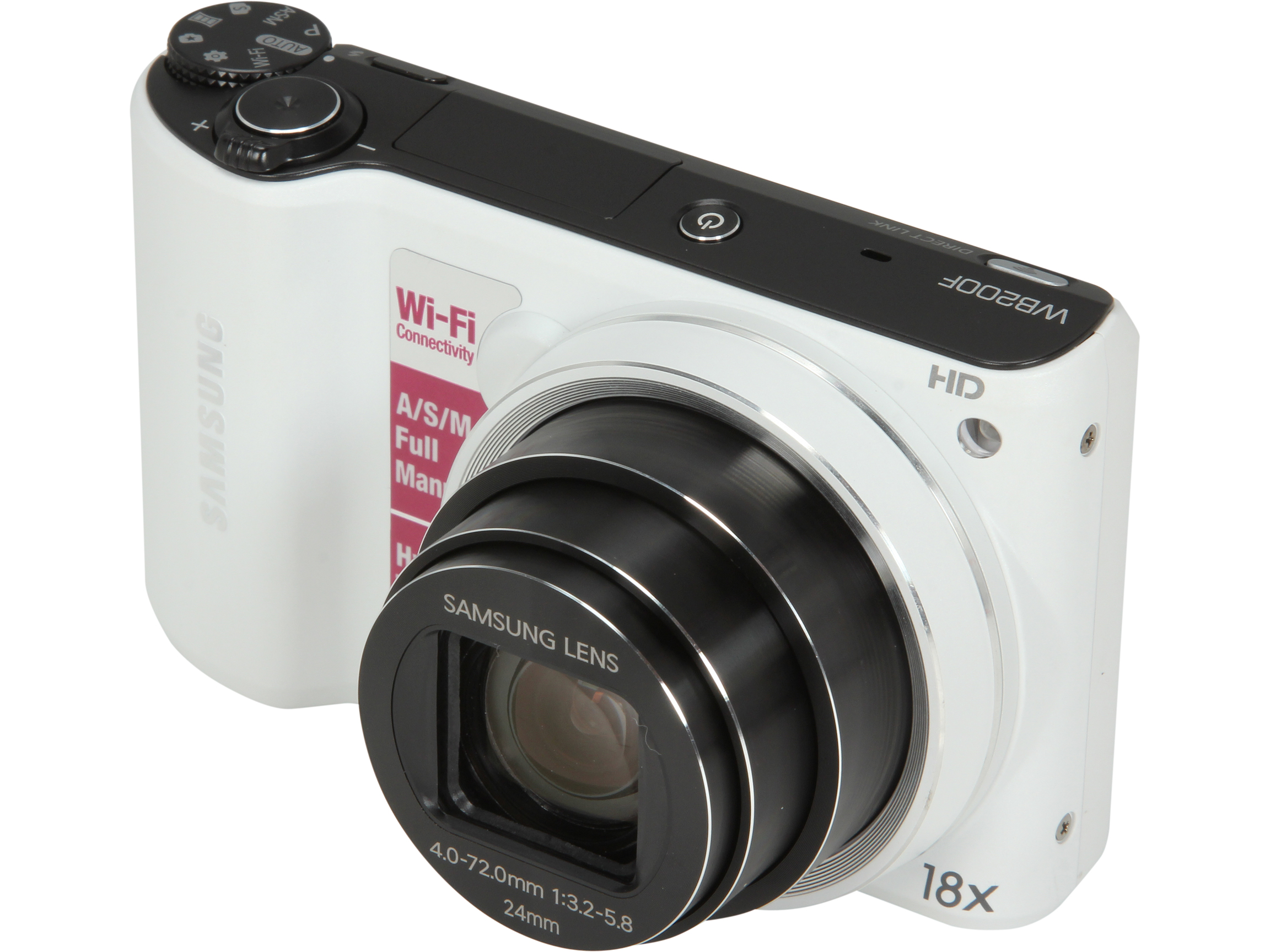 Refurbished: Samsung 14.2MP Digital Camera With Wi-Fi, EC-WB200F (White)
