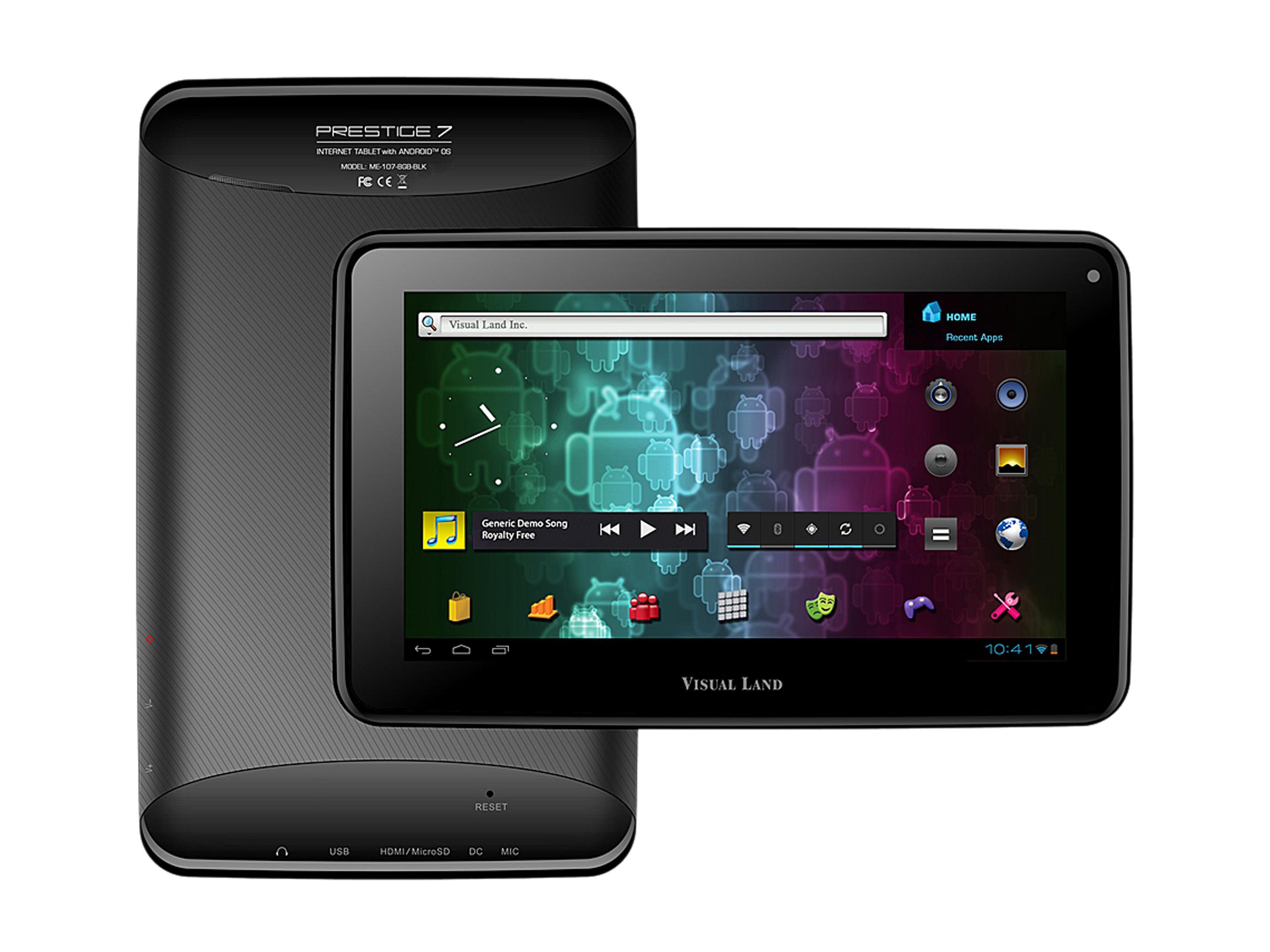"Visual Land Prestige ME 107 8GB BLK ARM Cortex A8 512MB DDR3 RAM Memory 8GB Flash 7.0"" Internet Tablet (Black) Android 4.0 (Ice Cream Sandwich)"