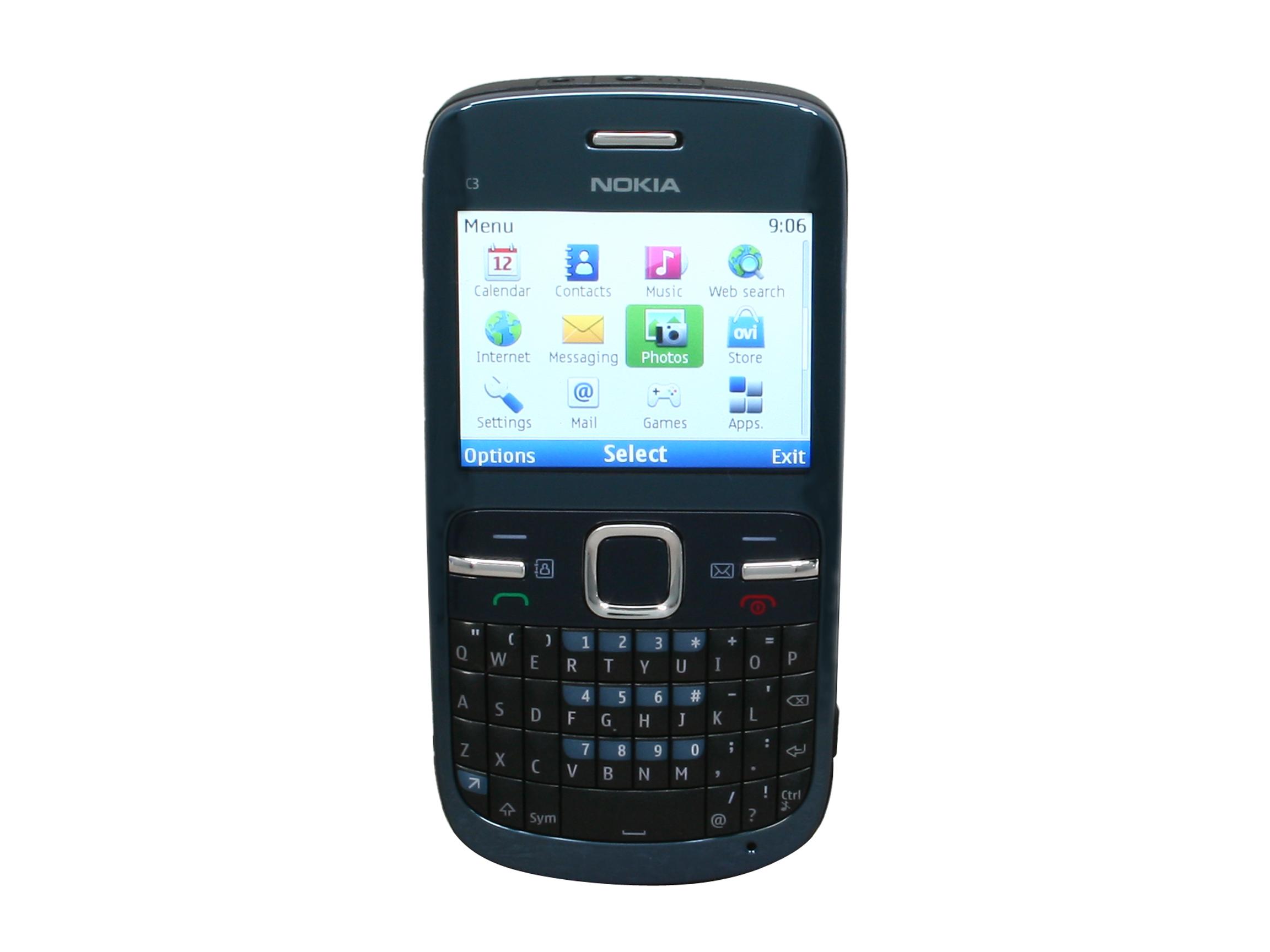 Nokia C3 00 Blue Unlocked GSM Phone w/ Full QWERTY Keyboard / Wi Fi / 2.0 MP Camera / Bluetooth v2.1  (C3 00)