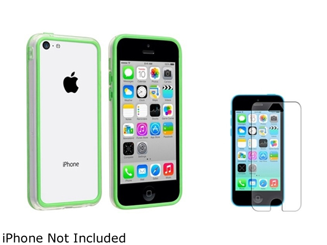 Insten Clear/Green TPU Rubber Bumper with Anti Glare LCD Cover Compatible with Apple iPhone 5C 1475715