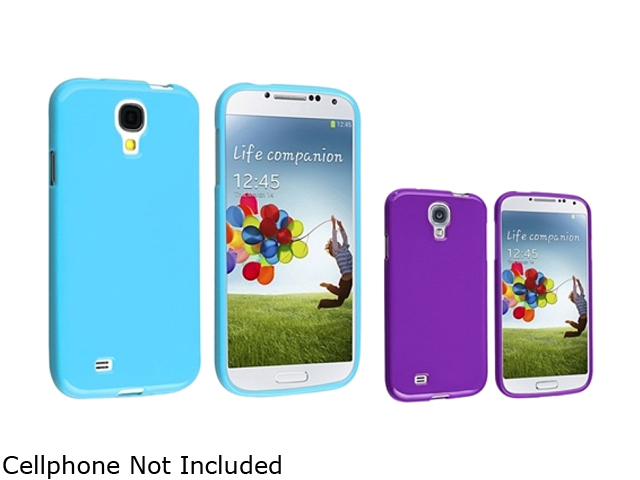 Insten Blue + Purple Jelly TPU Rubber Silicone Case Cover Compatible with Samsung Galaxy SIV S4 i9500