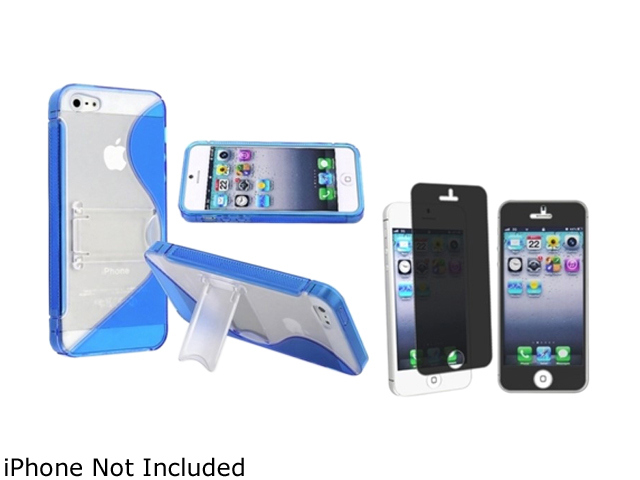Insten Blue S Shape TPU Rubber Case Cover w/Stand + Privacy Screen Protectorfor Apple iPhone 5 804531
