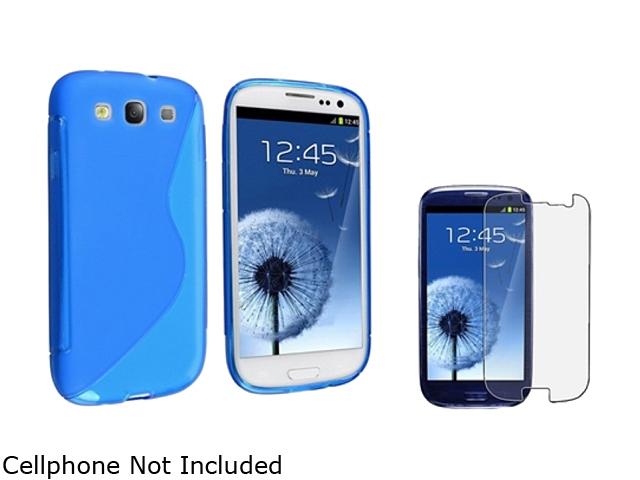 Insten Clear Blue S Shape TPU Rubber Skin Case & Anti Glare Screen Protector for Samsung Galaxy S3 658236
