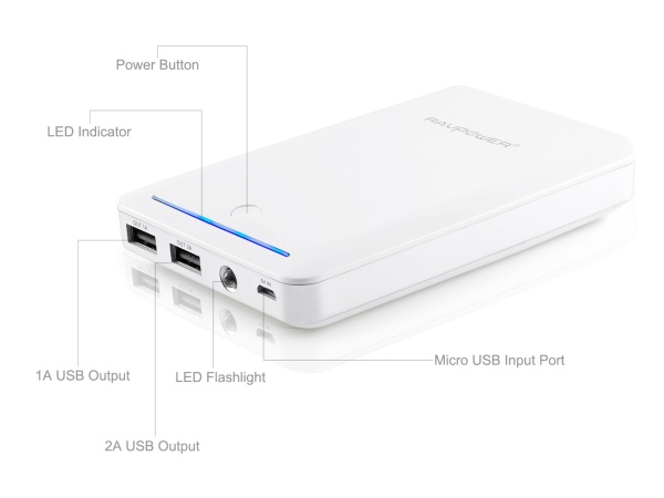 RAVPower Deluxe 14000mAh Power Bank External Battery Charger for Tablets, Smartphones, and Other Mobile Devices