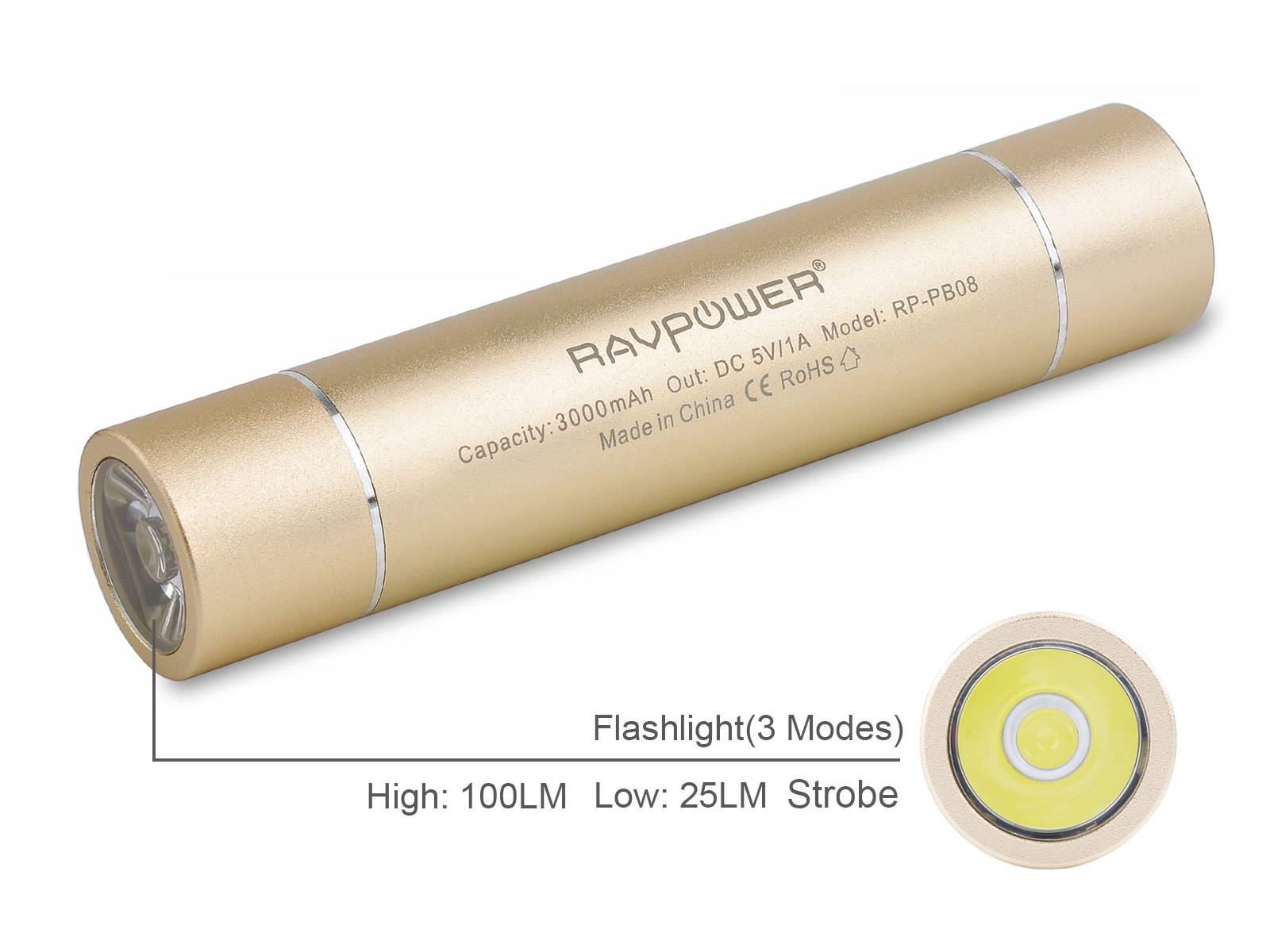 RAVPower Luster 3000mAh Power Bank External Battery Pack Lipstick Charger with Flashlight (3 Mode: High, Low, Strobe) for iPhone 5 5S 5C 4 4S, iPod; Galaxy S4 S3, Note 3, Note2; Nexus 4 and other