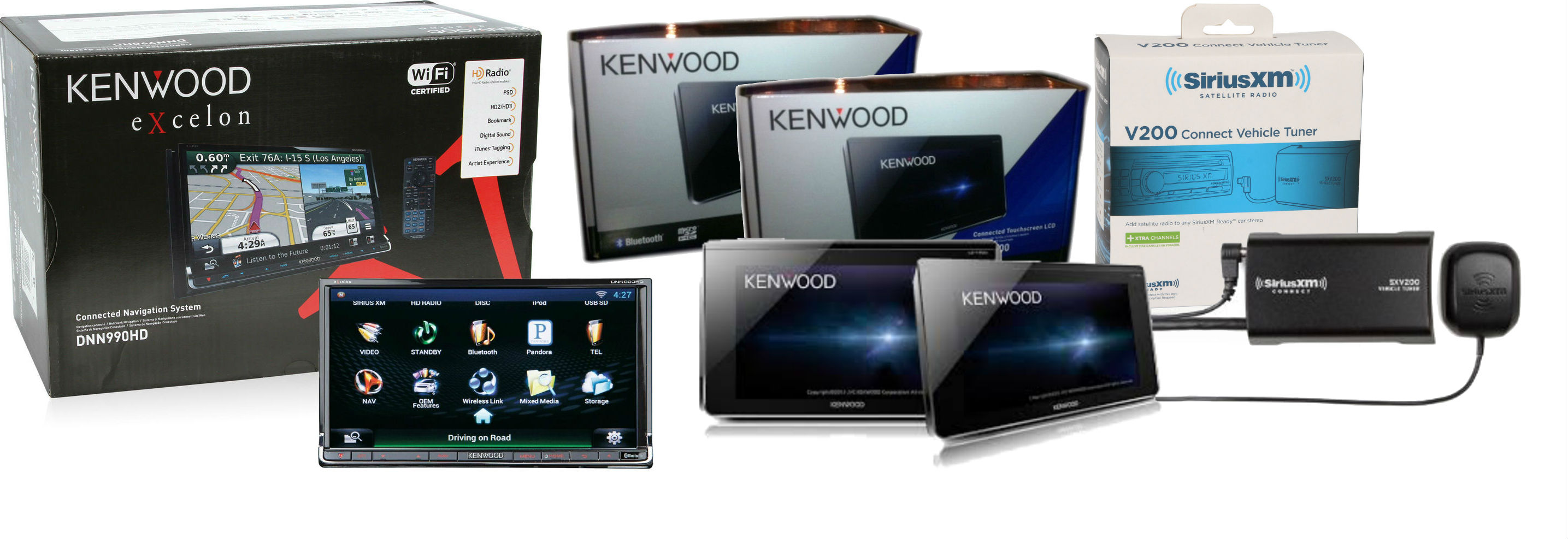 "Kenwood DNN990HD and TWO LZ-T700 7"" Capacitive Touchscreen Displays with SiriusXM SXV200V1 Sirius Tuner Bundle"