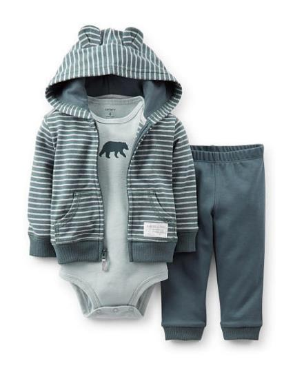68ff6af09 Carters Infant Boys 3 Piece Bear Hug Outfit Sweat Pants Creeper & Hoodie  Jacket