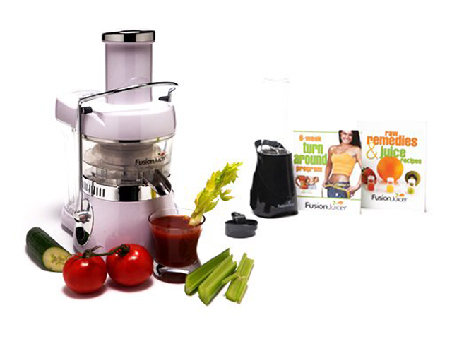 Refurbished: Fusion Juicer Classic Stainless Steel Blade Juicer & Books Bundle