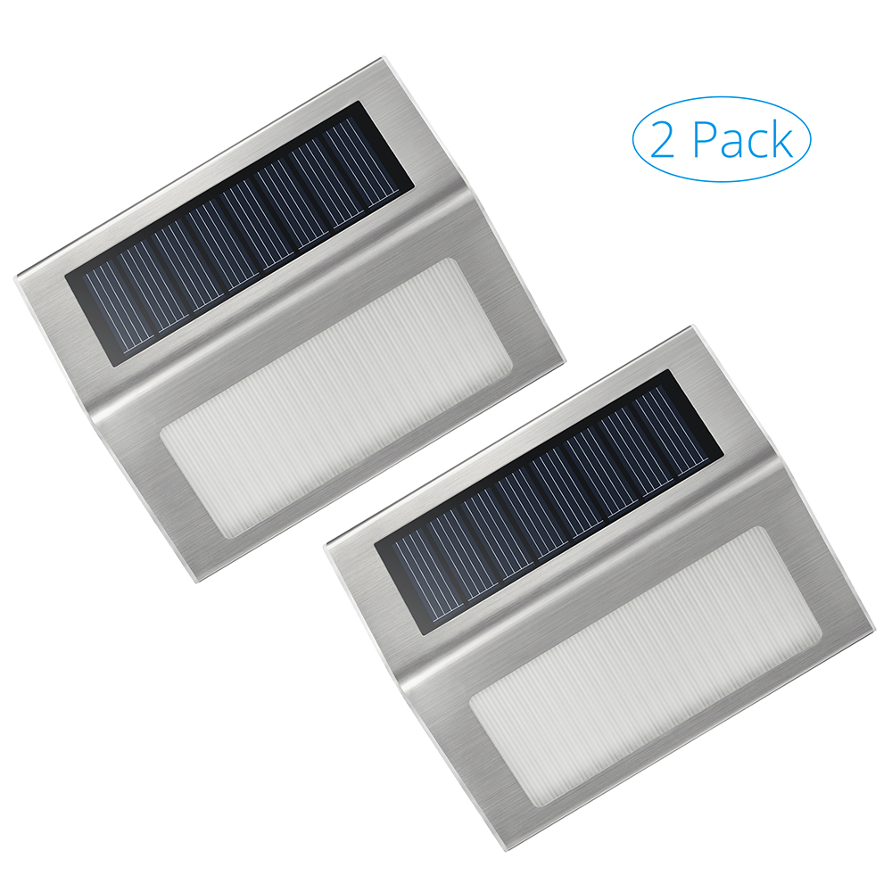 2 Pack Outdoor Stainless Steel Solar Powered LED Step Light; Illuminates Stairs, Paths, Deck, Patio, Garden, Etc
