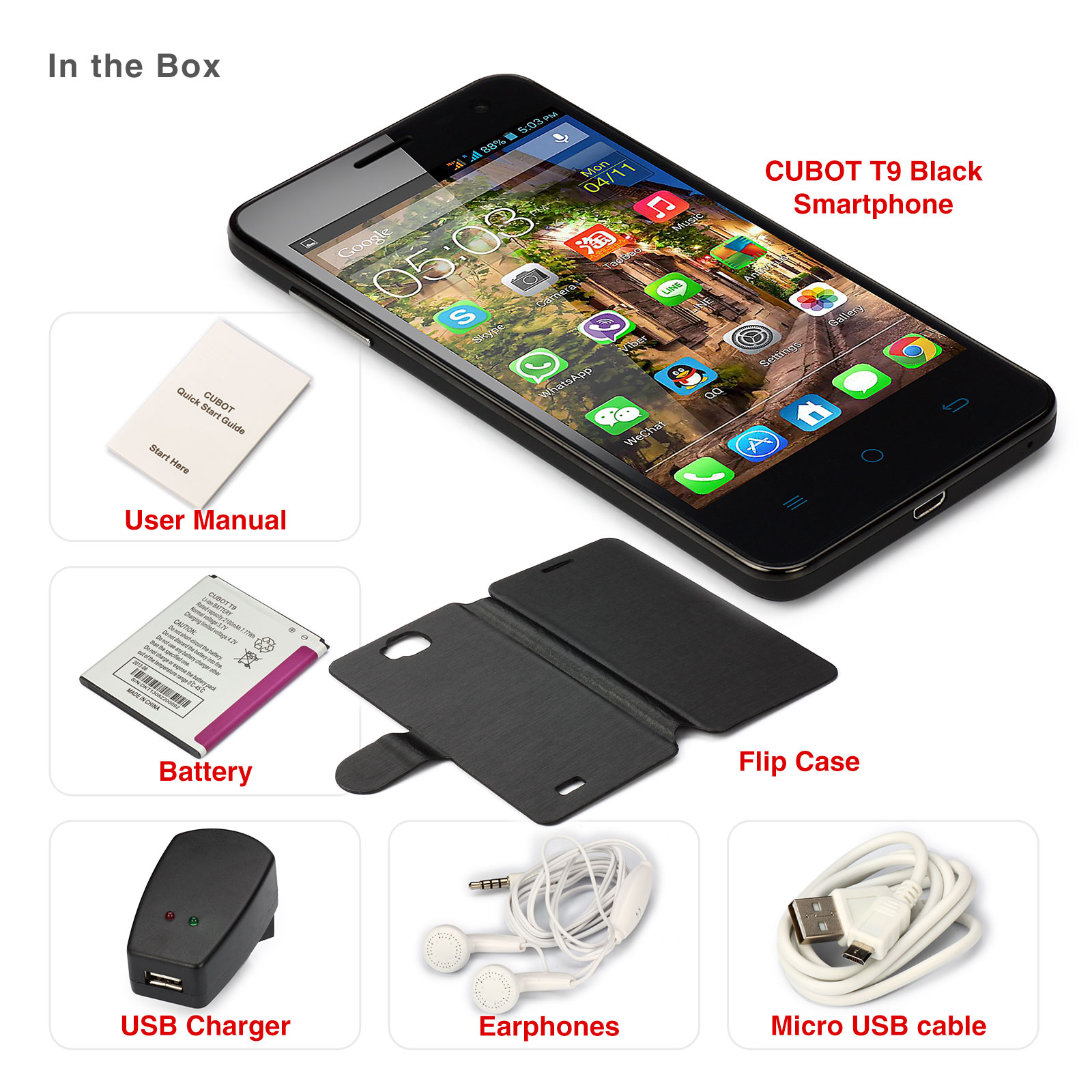 "CUBOT T9 Unlocked Smartphone 3G Wifi Dual SIM Quad Core 5.0"" IPS HD Touch Screen Android 16 GB"