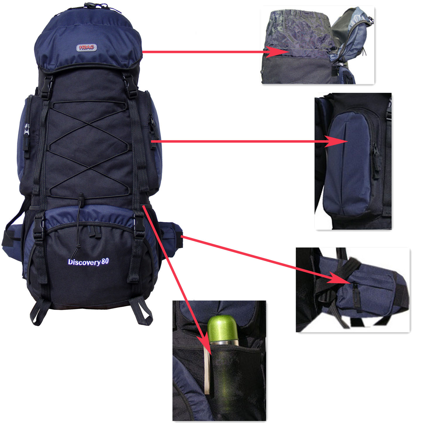 HBAG H8068GR Discovery 80L 5400ci Internal Frame Camping Hiking Backpack - Gray/Black