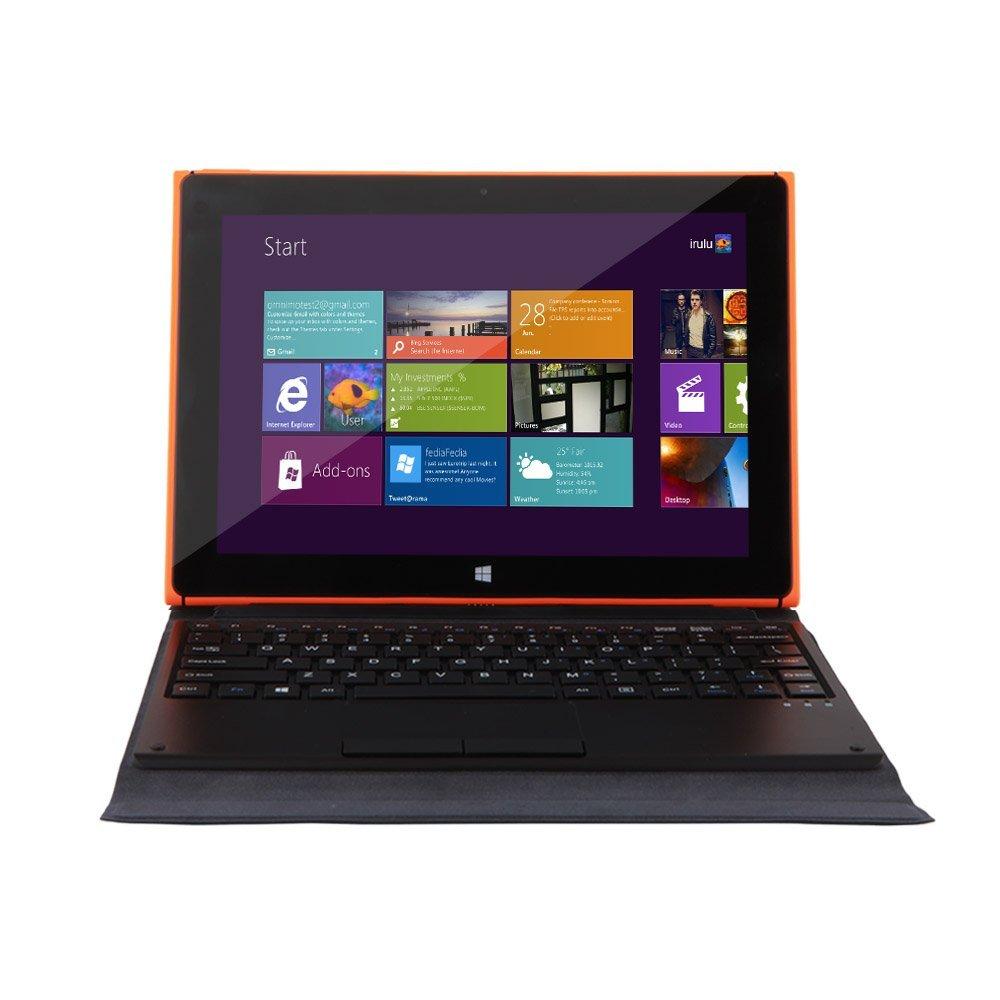 iRULU Walknbook 10.1 Inch PC   32GB Hybrid Laptop, 2 In 1 Tablet, Microsoft Windows 10 OS, Quad Core, IPS Display, Detachable Keyboard With Stand (Orange)