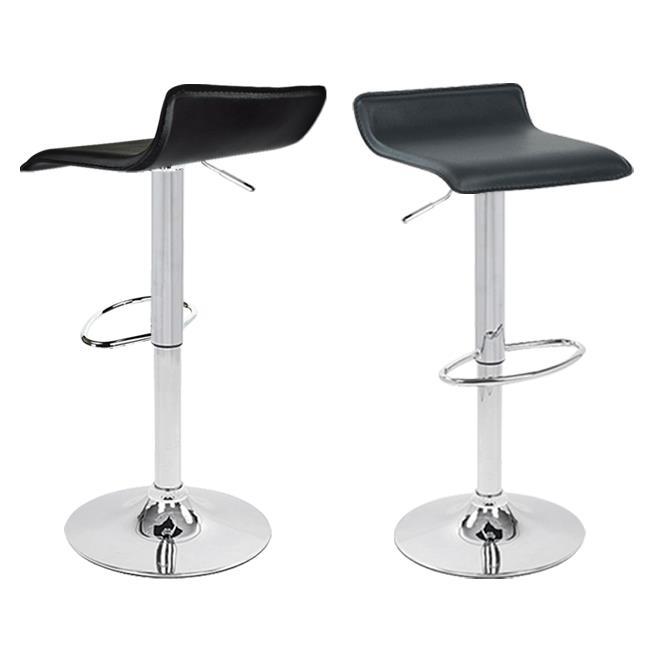 Apontus Bar Stool Counter Air Lift Adjustable Swivel Barstools Chairs (Set of 2) Black