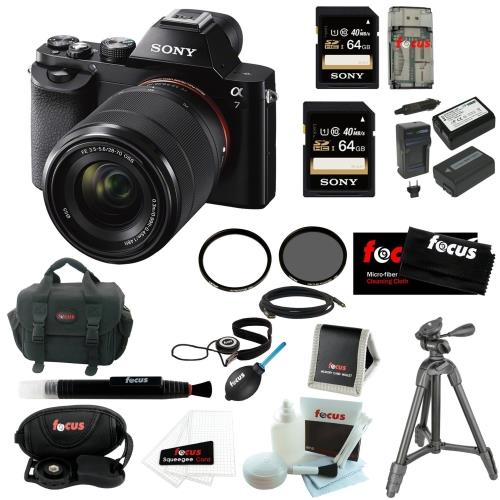 Sony 24.3 MP a7K ILCE-7K/B ILCE7KB Full-Frame Interchangeable Digital Lens Camera with 28-70mm Lens + Sony 64GB SDHC Memory ...