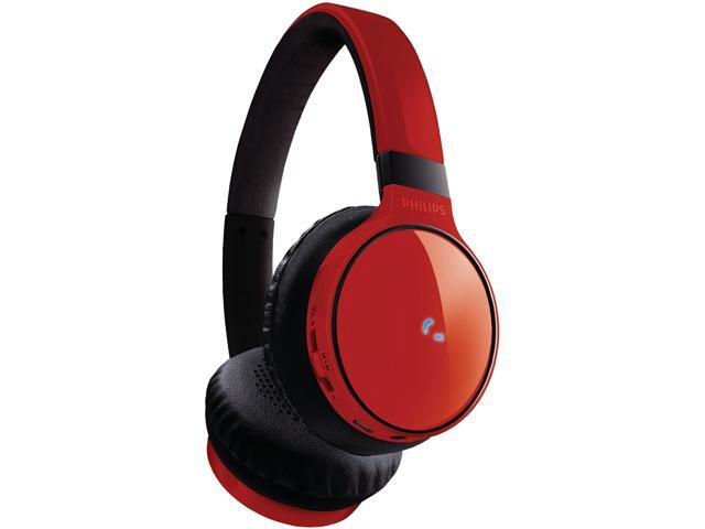 Philips SHB9100 Bluetooth Over-Ear Headphones, Red