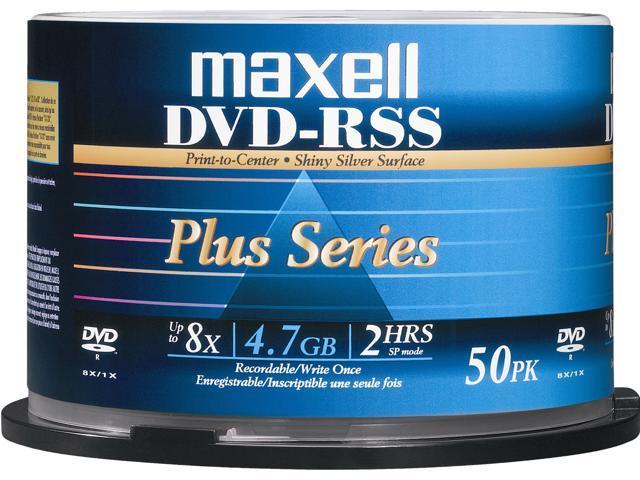 Maxell DVD-RSS Plus Series 4.7GB 8X DVD-R Silver Thermal Printable 50-Pack Discs DVDRSSPLUS