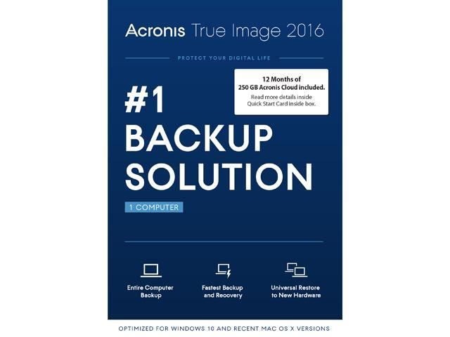 Acronis True Image 2016 w/ 250GB Cloud Storage