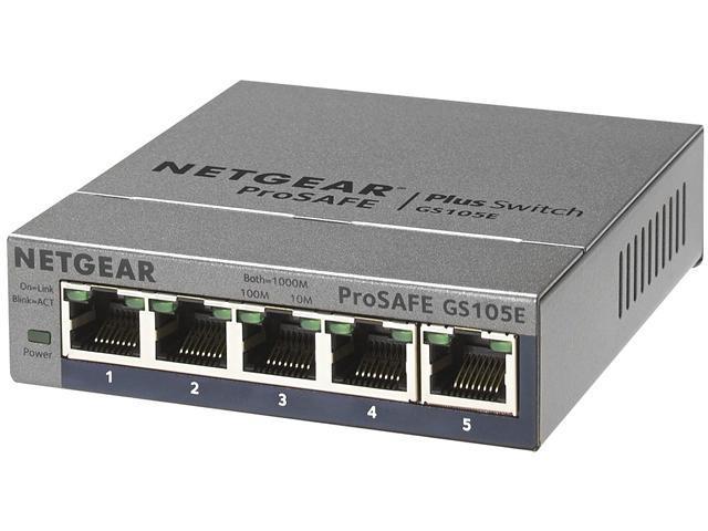 Netgear GS105Ev2 ProSAFE Plus 5 Port Gigabit Switch (GS105E-200NAS)