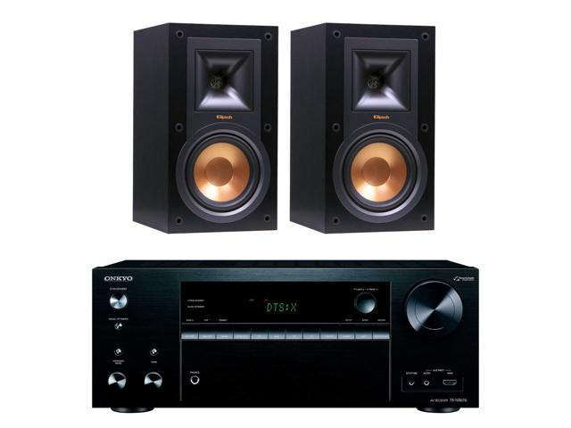 Onkyo TXNR676 7.2-Channel A/V Receiver w/ Klipsch R-15M Bookshelf Speakers, Black