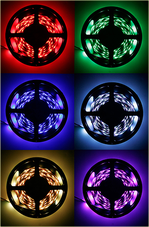 Colored Led Lights >> Hitlights Rgb Multicolor Changing Smd5050 Led Light Strip Kit 150 Leds 16 4 Ft Roll Cut To Length Includes 60w Adapter And 44 Key Controller