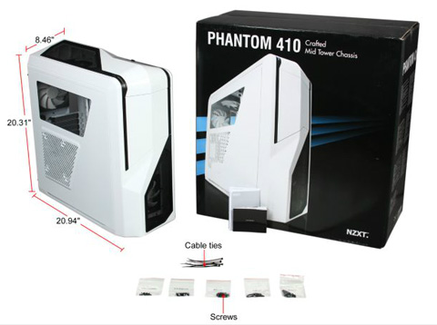 box nzxt phantom 410 series ca ph410 w1 plastic atx mid tower computer  at crackthecode.co
