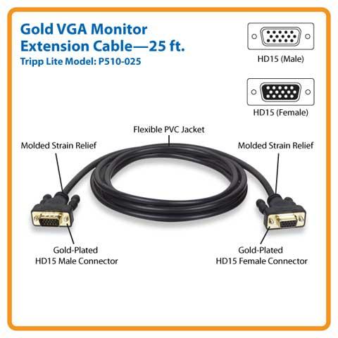 Tripp Lite P510 025 25 Ft Vga Monitor Extension Gold