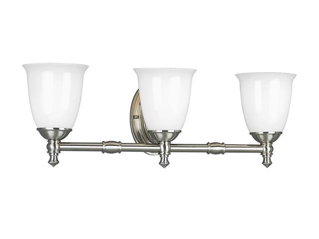 Progress Lighting Brushed Nickel 3-Light Bath Bracket with White Opal Glass
