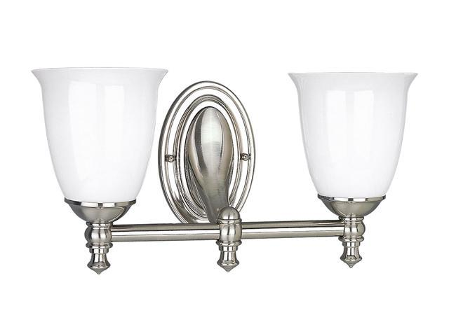 Progress Lighting Brushed Nickel 2-Light Bath Bracket with White Opal Glass