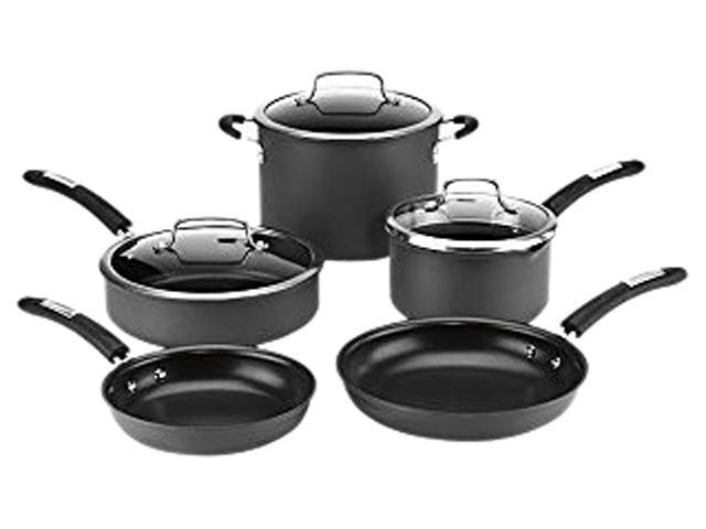 Cuisinart 8-Piece Dishwasher Safe Hard Anodized Cookware Set, Black