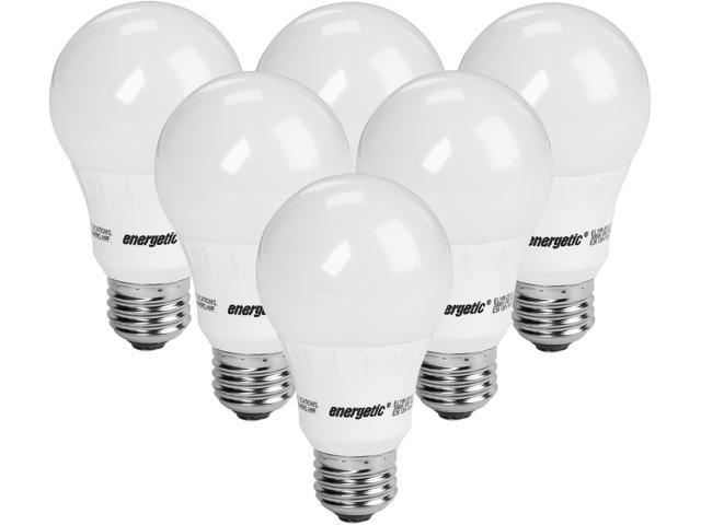 Energetic Lighting A19 40W Replacement LED Light Bulbs, E26, 450 Lumen, Non-Dimmable, 240 Angle, 3000K, Warm White, Pack of 6