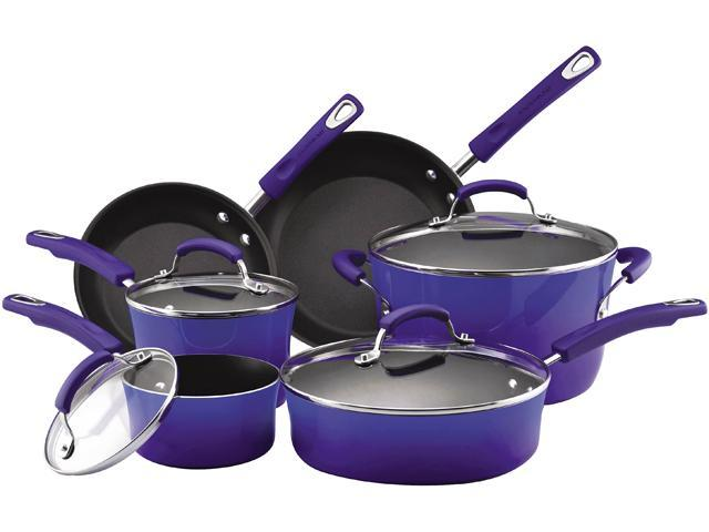 Rachael Ray 11500 10-Piece Cookware Set, Blue Two-Tone - Blue