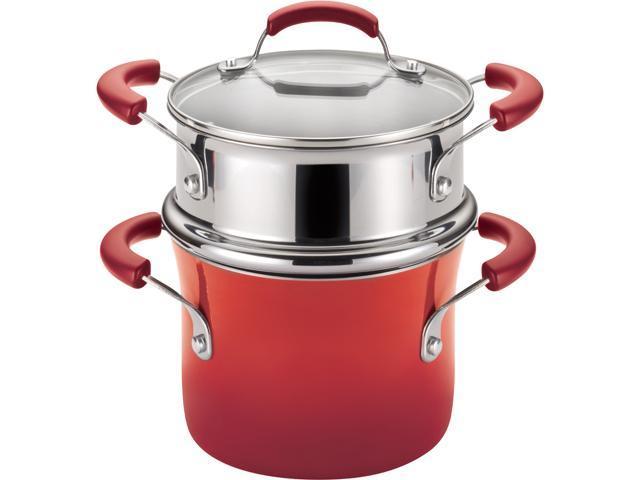 Rachael Ray 3-qt. Porcelain II Covered Steamer Set, Red